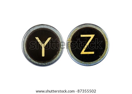 Vintage typewriter letters YZ isolated on white