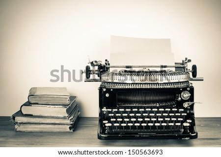 vintage typewriter  old books...