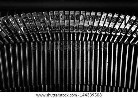 Vintage typewriter. Old typewriter bars, close up.