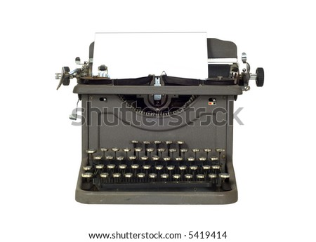 Vintage Typewriter on white background with space for copy on the paper, - stock photo
