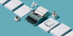 Vintage typewriter's header and piles of blank sheets, old-timey writer and blogger concept, isometric objects
