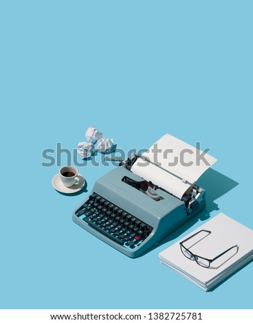 Vintage typewriter's header and piles of blank sheets, old-timey writer and blogger concept, isometric objects #1382725781