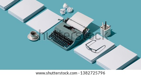 Vintage typewriter's header and piles of blank sheets, old-timey writer and blogger concept, isometric objects #1382725796
