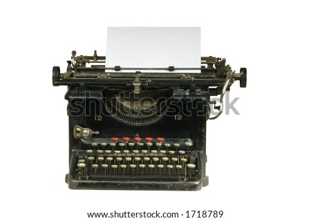 Vintage typewriter with paper sheet inside on white isolated background
