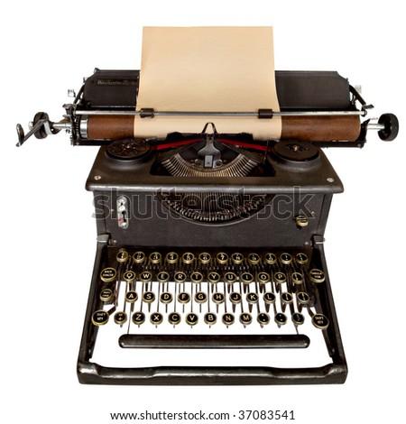 Vintage typewriter, with sheet of blank aged notepaper.