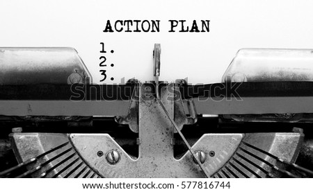 Vintage Typewriter with text ACTION PLAN #577816744