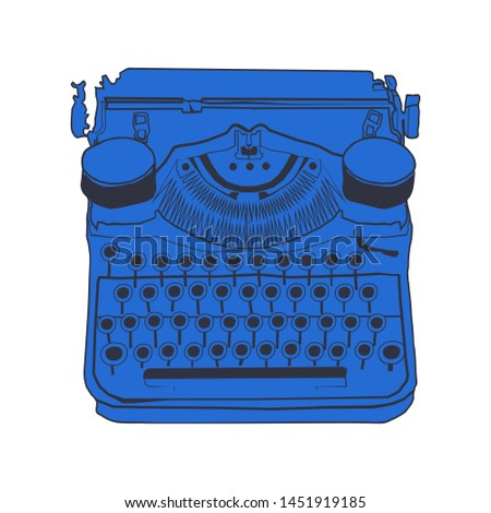 Vintage typewriters color illustrations of retro typewriter, inspire writers, screenwriters, copywriters and other creative people