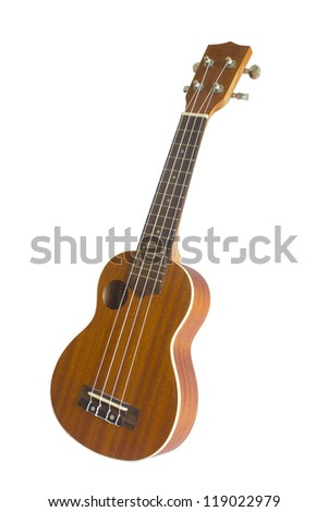 Vintage ukulele on white isolated.