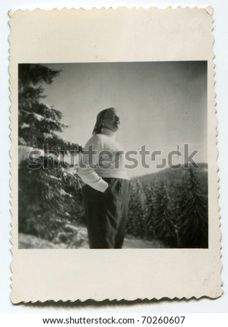 Vintage unretouched photo of woman (fifties/sixties)