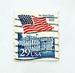 Vintage US postage stamp, Close up