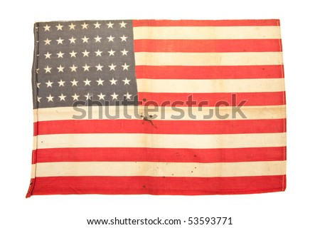 Vintage usa flag on isolated white background