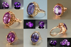Vintage USSR Soviet union womens 583, 14K gold ring with lab created alexandrite effect corundum faceted stone setting. Natural amethysts loose gemstones.