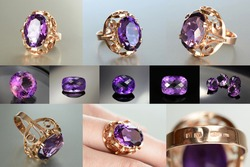 Vintage USSR Soviet union Womens 583, 14K massive gold ring with lab created Amethyst faceted gemstone setting. 6 photos 1400 x 1070 pxixels in one, plus 5 small photos of natural amethysts.