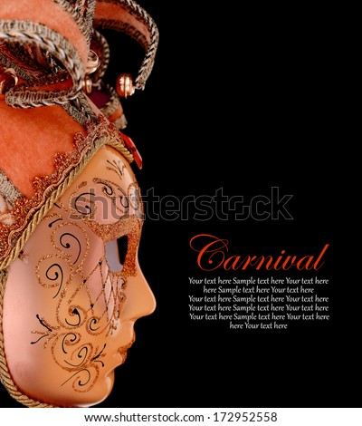 Vintage venetian carnival mask on black background