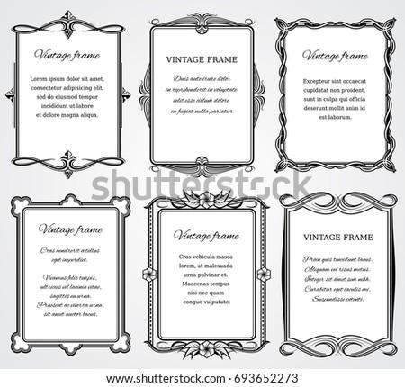 Vintage victorian border frames set for certificate and book design Victorian greeting frame template illustration #693652273