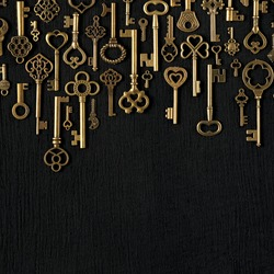 Vintage victorian style golden skeleton keys. Concepts of keys to success, unlocking potential, or achieving goals. With blank copy space.