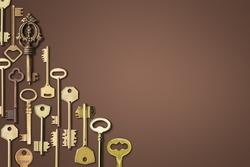 Vintage victorian style golden skeleton keys on a dark background