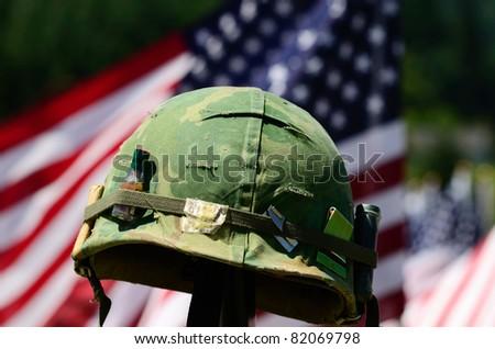 Vintage Vietnam era helmet at a celebration of Veterans of Foreign Wars in Sutherlin Oregon