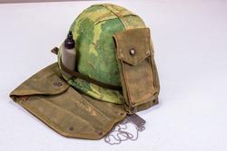 Vintage Vietnam Vet Camouflage Helmet & Ammo Pouch