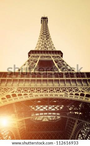 Vintage View of Eiffel Tower, Paris