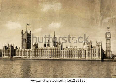 vintage view of london  big ben ...