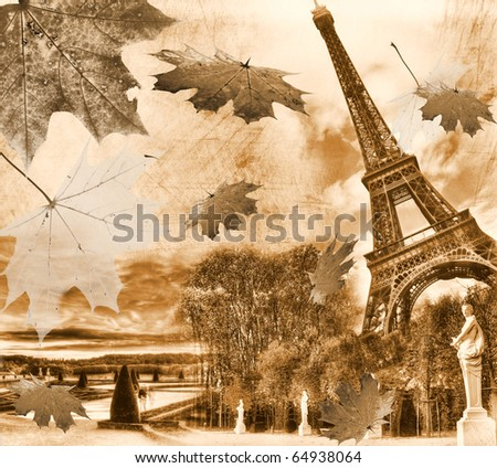 Vintage view of Paris. Grunge background - stock photo
