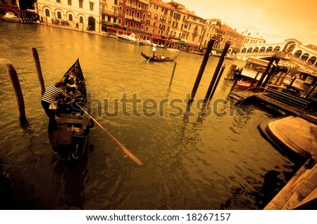 vintage view of venice with gondola