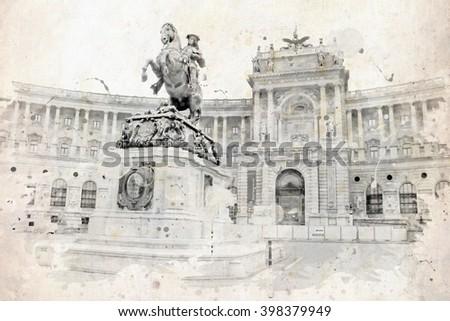 Vintage view of Vienna on the grunge poster, grunge illustration