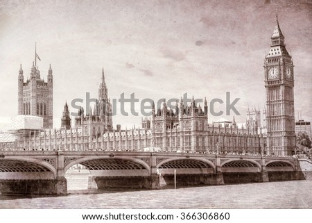 Vintage view of Westminster Bridge, London.