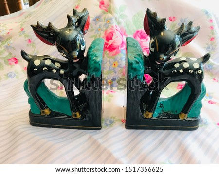 Vintage Vintage Cold Painted Baby Fawn Deer Bookends #1517356625