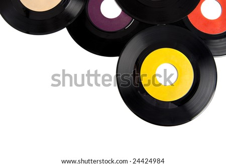 Vintage vinyl record albums with copy space on a white background add text or graphic to record label