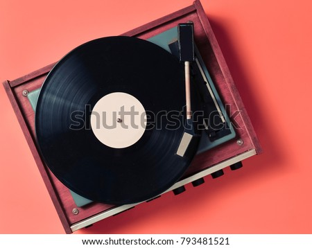 vintage vinyl turntable with...