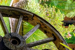 Vintage Wagon Wheel. Colonial Time Period - Hand Crafted Wagon Wheel. Antigua, Guatemala - 24th of March 2011