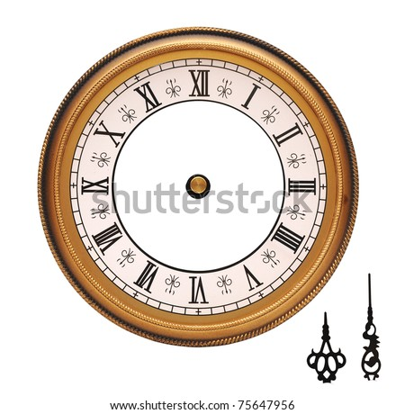 vintage wall clock isolated on white background