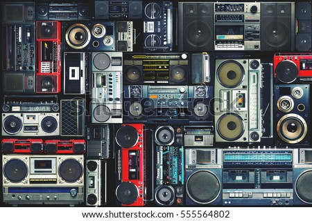 Vintage wall full of radio boombox of the 80s