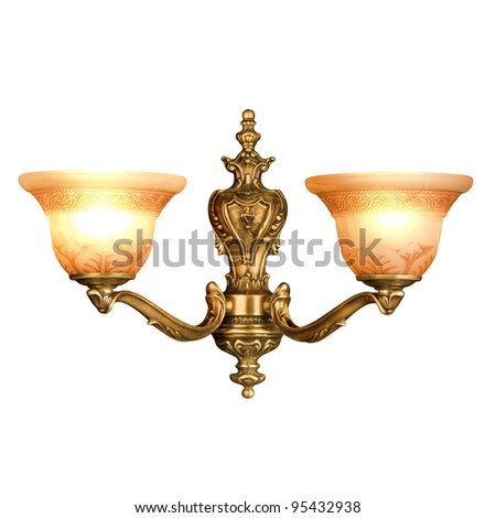 vintage wall lamp isolated on white with clipping path
