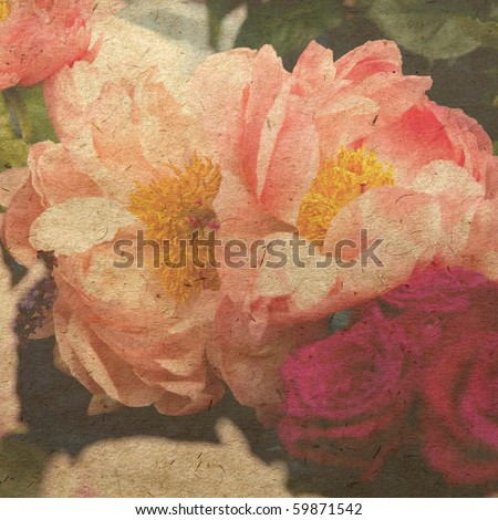 vintage wallpaper background with pink peony