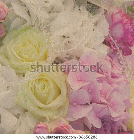 stock photo vintage wallpaper background with wedding s bouquet of rose