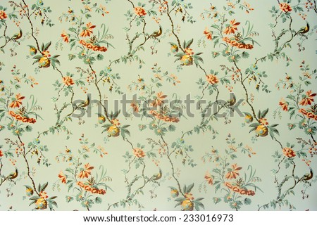 Vintage wallpaper - Floral pattern of 18th century #233016973