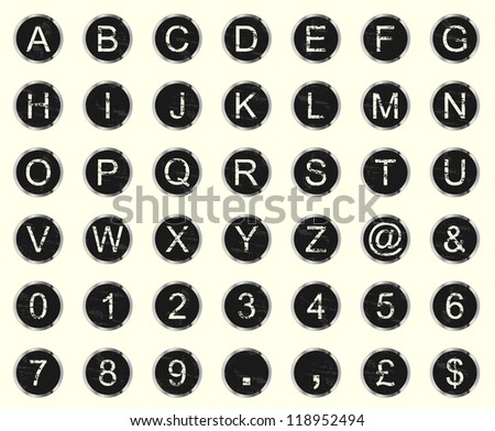 Vintage warn and faded typewriter keys. Set of letters, numbers and symbols.