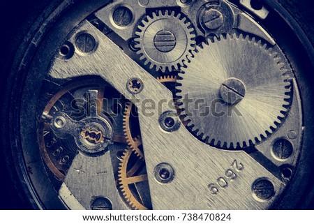 vintage watch details.hour gear....