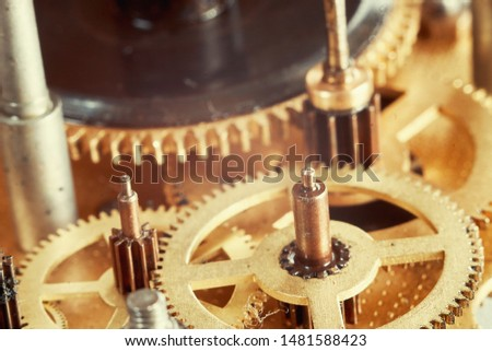 Vintage watch mechanism with gears