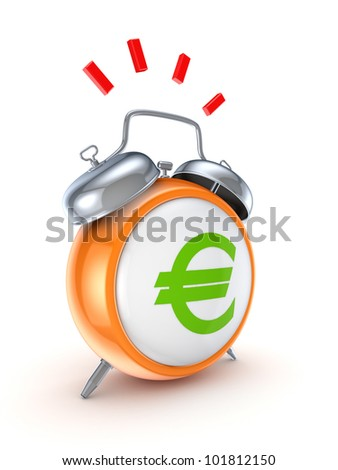 Vintage watch with a green euro sign.Isolated on white background.3d rendered.