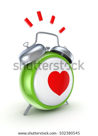 Vintage watch with a red heart.Isolated on white background.3d rendered.