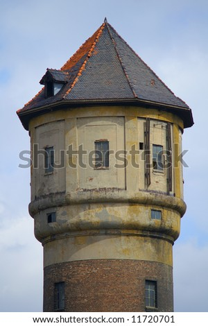 vintage water tower of an old coal mine