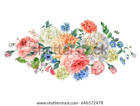 vintage watercolor bouquet with ...