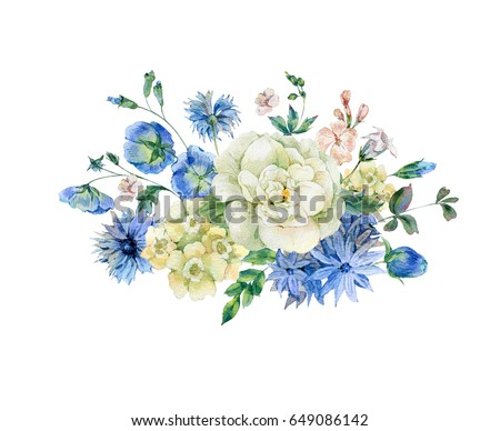 Vintage watercolor bouquet with blue blooming wild flowers, cornflowers and roses, Watercolor natural greeting card with summer flowers, botanical illustration isolated on white background