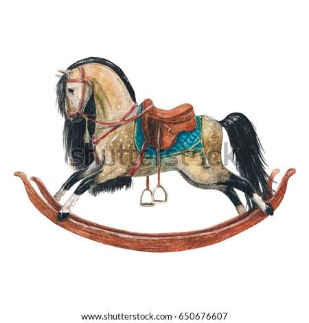 vintage watercolor horse...