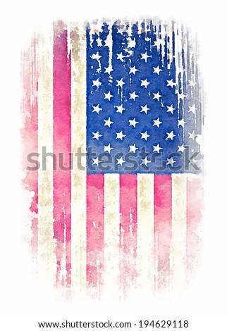 Vintage watercolor of American flag illustration.