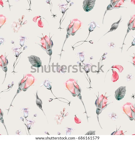 Vintage watercolor seamless pattern with buds of roses and wild flowers, Watercolor natural botanical illustration with summer flowers on beige background